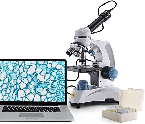 SWIFT SW150-EP1-5PBC Mikroskop mit 1,3MP Okularkamera 40X-1000X Kinder Studenten Mikroskop Set koaxialen Grob- und Feintrieb mit doppelter LED Beleuchtung Metallrahmen