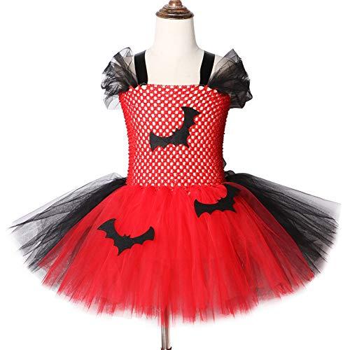 QWER Halloween-rock-vampiers-tutu-jurk rood en zwart kinderen voor meisjes carnaval-feestjurk knielange tule tutu-jurk