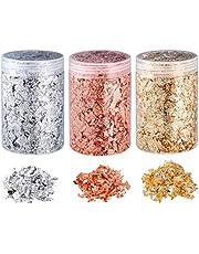 copos dorados copos de hoja de oro, copos de lámina metálica de imitación para arte de resina, pintura, manualidades, decoración de fabricación de joyas de uñas (5 gramos/botella)