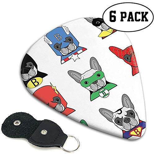 Gitaar Picks 6 stks,Bulldog Leuk Cartoon Puppies In Vermomming Kostuum Honden Met Maskers Print.96mm