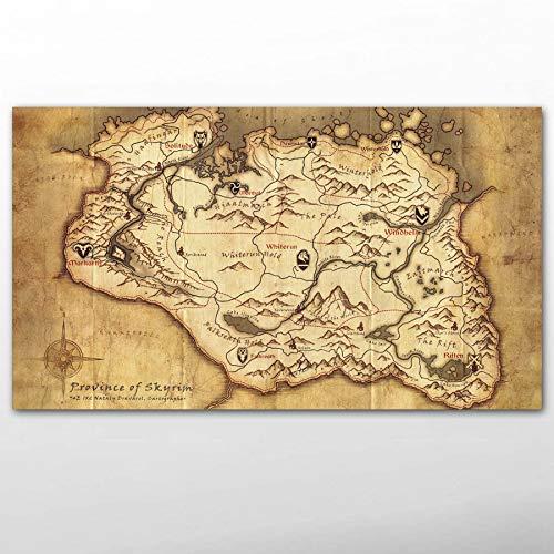 Leinwand Malerei Poster und Drucke Videospiel The Elder Scrolls Skyrim Ancient Map Wallpaper Leinwand Wandkunst Gemälde für Wohnzimmer Dekor Gemälde 50 * 70cm
