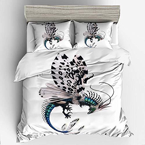 WTBDWOSH Juego De Cama 3D Mariposa Animal De Dibujos Animados Blanco 1 Funda Nórdica Estampada Y 2 Fundas De Almohada, Microfibra Hipoalergénica, Apta Para Textiles Para El Hogar De Niños Y Adultos