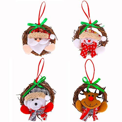 Tomkity 12pz Pendenti Albero di Natale Forma di Ghirlanda Natalizia Decorazione Albero di Natale Ornamenti Accessori per Alberi di Natale 4stili