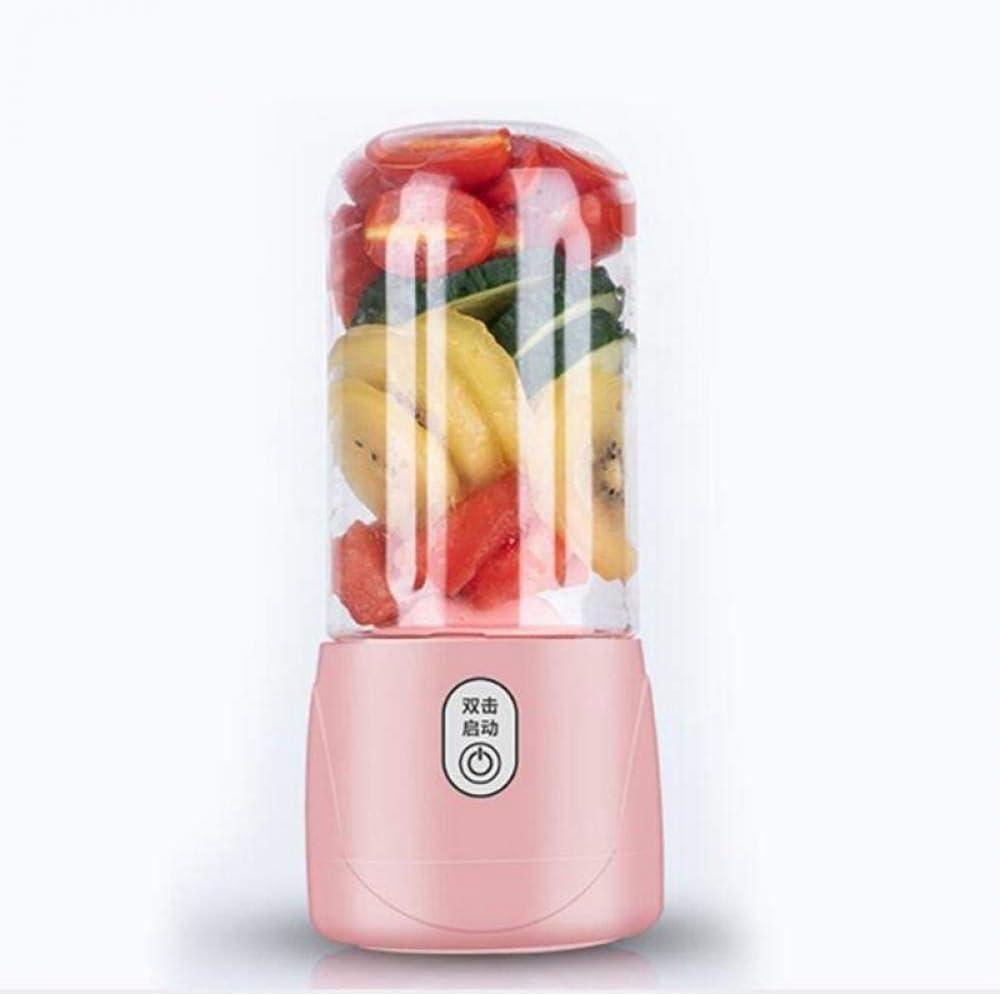 Exprimidor portátil de 6 cuchillas, licuadora eléctrica recargable por USB, máquina licuadora de jugos, licuadora rápida Pink