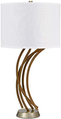"""Catalina Lighting 21745-001 Coastal Inspired Faux Driftwood Table Lamp, LED Bulb Included, 32.2"""", Gold Antique Brass"""