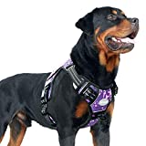 Auroth Tactical Dog Harness for Small Medium Large Dogs No Pull Adjustable Pet Harness Reflective K9 Working Training Easy Control Pet Vest Military Service Dog Harnesses (L, Purple Camo)