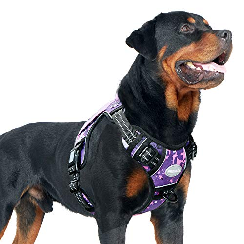 Auroth Tactical Dog Training Harness No Pulling Front Clip Leash Adhesion Reflective K9 Pet Working Vest Easy Control for Small Medium Large Dogs Purple Camo L