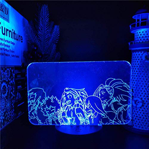 Luz de noche 3D para niños My Hero Academia OCHACO Tsuyu YAOYOROZU MOMO 3D Anime LAMP Luces de noche Boku no Hero Academia (con control remoto)