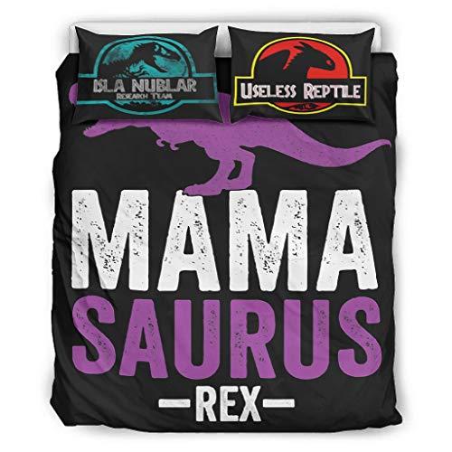 BBOOUAG Ropa de cama Mama Saurus Rex Fundas de edredón de estilo europeo color oscuro cama doble blanco 104x90 pulgadas