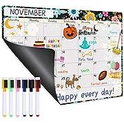 "Magnetic Calendar for Refrigerator - Fridge Calendar, Magnetic Dry Erase Calendar with Six Markers, Monthly Calendar Whiteboard, 16.9"" x 11.8"", Desk & Wall & Fridge Calendar/Planner - Black Floral"