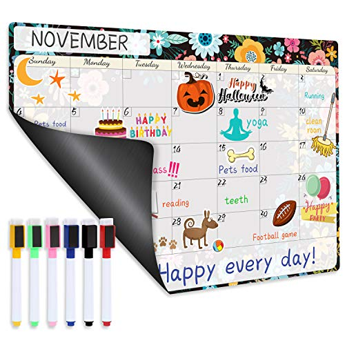 Magnetic Calendar for Refrigerator - Fridge Calendar, Magnetic Dry Erase Calendar with Six Markers, Monthly Calendar Whiteboard, 16.9' x 11.8', Desk & Wall & Fridge Calendar/Planner - Black Floral