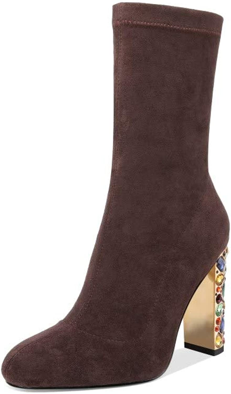 Nine Seven Suede Leather Women's Round Toe Chunky High Heel Slip On Handmade Gorgeous Dress Mid Calf Boots
