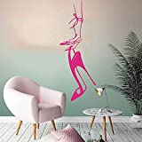 Kjlfow Señoras Pegatinas de Pared de tacón Alto Zapatos de salón de Belleza Vitrina de Vidrio Dormitorio Tatuajes de Pared Vinilo decoración del hogar 85x31 cm