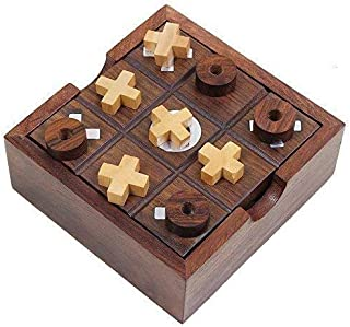 Aheli Rosewood Hand Carved 2 in 1 Board Game Set Includes Tic-Tac-Toe and Solitaire with Storage Box Indoor Outdoor Toys for Kids Adults