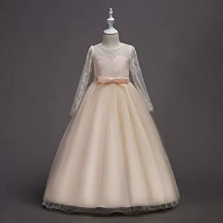 Luxury Tutu Skirt Girls Princess Lace Long-Sleeved Wedding Dress Princess Dress Performance Dress ryq (Color : Champagne, Size : 120cm)
