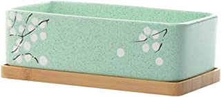 GardenBasix Ceramic Window Sill Planter Box Rectangle Flower Pot for Indoor Succulents Tabletop Decoration (1, Green with Tray)