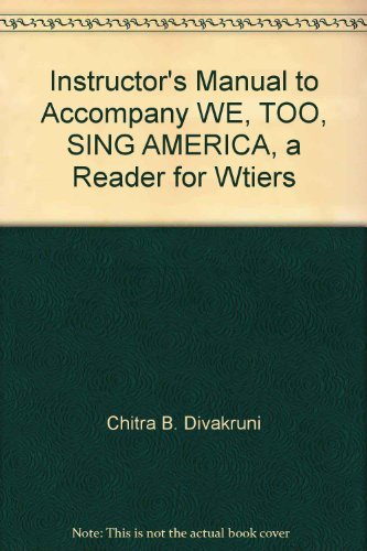 Instructor's Manual to Accompany WE, TOO, SING AMERICA, a Reader for Wtiers