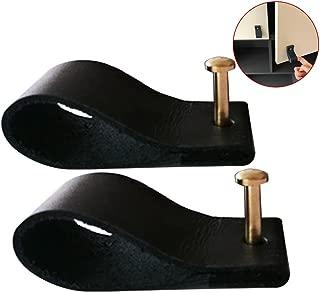 TINTON LIFE Genuine Leather Drawer Pulls Wardrobe Cabinet Knobs with Screw(Black/Screw Length:0.98