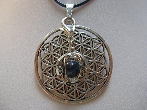 Natural mente – Pendentif Fleur de vie, la pierre + 1 Chakra, pendentif pour collier, amulette, fleur de vie, avec bandeau plastique, pierres précieuses, n ° 120