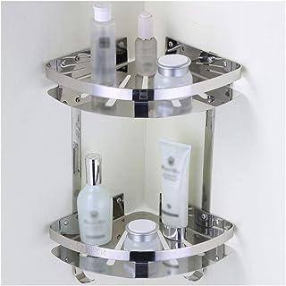 Antirouille Salle de bain d'angle de rangement étagères avec 2 crochets 2 SUS304 Triangle acier Tiers inoxydable Support d...