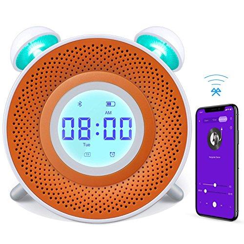Danolt Wecker für Kinder, USB-Ladegerät Smart Wecker für Schlafzimmer, 7 Farbe Nachttisch Uhr Stimmung Nachtlicht mit Bluetooth-Lautsprecher, Bedtime Story Player, Countdown Zeit, Standby 180 Tage.