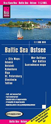 Reise Know-How Landkarte Ostsee (1:1.300.000) mit Stadtplänen Danzig, Helsinki, Kopenhagen, Riga, St. Petersburg, Stockholm, Tallinn: world mapping project
