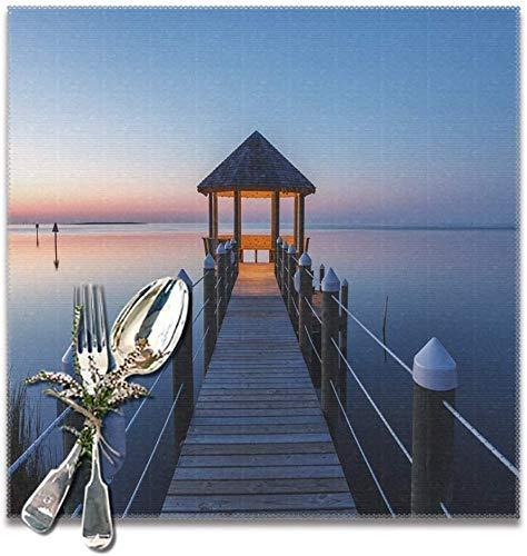 MAY-XCustom Tablemat,Boardwalk Leading Gazebo Over Waters Dining Mat,Fashion Dining Mats For Home Party Set of 4,30x30cm