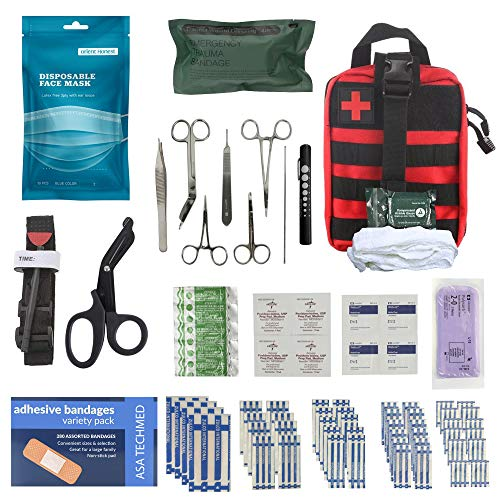 ASA Techmed - AFAK Gunshot Trauma/Hemorrhage Military Control Kit in MOLLE Advance IFAK Pouch and 10pc 3ply Face Mask Ideal for First Responders, Police, Military and Survival Kits for Emergency