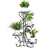 unho Metal Plant Stand Flower Pot Shelf Indoor 4 Tier...