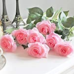 ipopu artificial flowers for decoration,single stem silk rose flowers artificial roses for wedding party home cake decoration,artificial roses with stem(light pink)