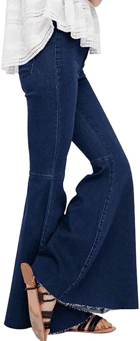 Women's Fashion Safety and trust Bell Bottom Pants Waist Curv Challenge the lowest price High Stretch Tassel