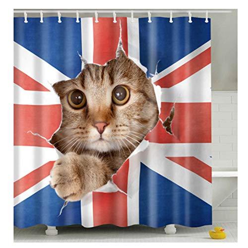 Gebaozhen Katzen-Duschvorhang mit britischer Flagge, lustiger Duschvorhang, Polyester-Stoff, wasserdicht, schimmelresistent, Badezimmer, waschbar, Badvorhänge mit 12 Haken, 180 x 180 cm (Cat-5)