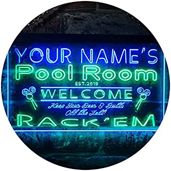 ADVPRO Personalized Your Name Est Year Theme Pool Room Rack em Club Dual Color LED Neon Sign Green & Blue 24  x 16  st6s64-py1-tm-gb