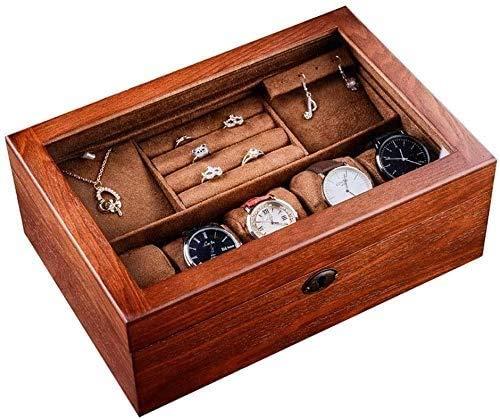 YUYANDE Muchacho Muchacho Hombre Hombre Hombres Hombres Caja de Almacenamiento, Caja de Relojes y joyería, con una partición extraíble Organizador de joyería de Madera Joyas de Madera Caja de joyería