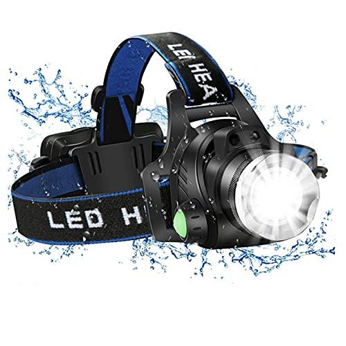 JZlamp Faro portátil de 15000 lúmenes 18650 LED, luz de la Cabeza de la batería de 2200 mAh con 6 Modos y Sensor de Movimiento, para Adultos para niños Accesorios para Acampar