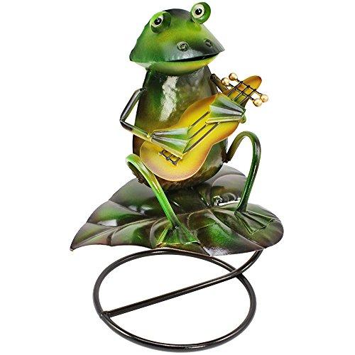 com-four® Dekofigur Frosch mit Gitarre - Gartenfigur aus bunt lackiertem Metall im Frosch-Design - ca. 30x23x16cm (1 Stück - Frosch mit Gitarre)