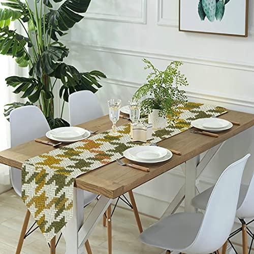 Reebos Camino de mesa de lino para aparador, a cuadros, en oro óxido y marrón, camino de mesa de cocina, para cenas de granja, fiestas de vacaciones, bodas, eventos, decoración, 33 x 70 pulgadas