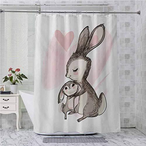 Aishare Store - Cortinas de ducha para baño, diseño de conejito con texto en inglés 'Happy Mother Day Theme' de 175 cm de largo, diseño de conejito con texto 'Happy Mother', color rosa pálido