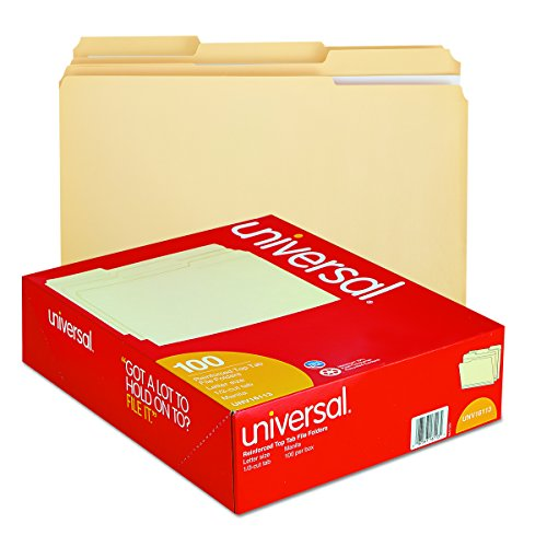 Universal 16113 File Folders, 1/3 Cut Assorted, Two-Ply Top Tab, Letter, Manila (Box of 100) Photo #4