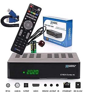 immagine di Anadol IZYBOX - Ricevitore satellitare 4K, ricevitore via cavo o ricevitore DVB-T2, sintonizzatore DVB-S2X, Multistream, 2 porte USB, lettore di schede, Astra preinstallato
