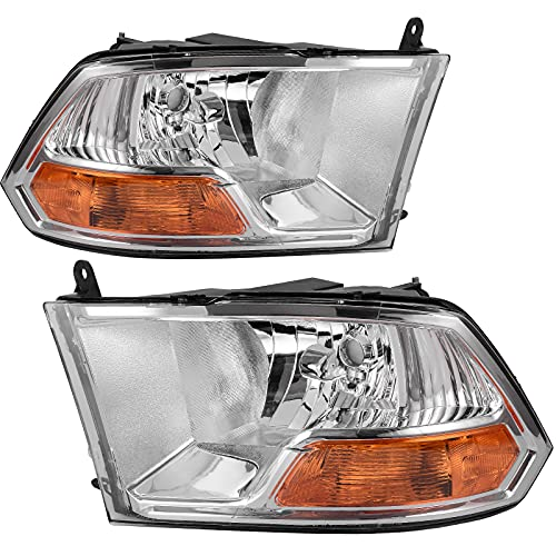 AUTOSAVER88 Headlight Assembly Compatible with 2009-2012 Dodge Ram 1500 2500 3500 Pickup Dual Beam Model Headlamp Replacement Chrome Housing Clear Lens (Not fits Quad Beam Headlight Models)