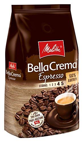 Melitta Ganze Kaffeebohnen, 100{69190b5496d19aa8b9ea1f6c7bdbbfb9383f93f105b308d8c35db946705c1bac} Arabica, kräftig-würziger Geschmack, Stärke 4-5, BellaCrema Espresso, 1kg