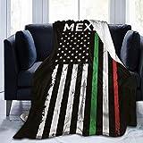 HDAXIA Manta,Bandera de EE. UU. México, cálida Franela Ultra Suave Polar Manta Ligera sofá Cama Sala de Estar Dormitorio para niños Adultos