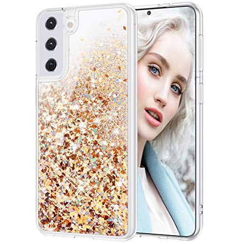 Maxdara Galaxy S21 Case 5G, Galaxy S21 Glitter Case for Girls Women Bling Quicksand Clear Soft TPU Case Shiny Sparkle Luxury Floating Phone Case for Samsung Galaxy S21 (Gold Silver)