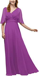 Women`s V Neck Long Bridesmaid Dresses Maxi Beach Skirt Prom Gown with Delicate Sleeves