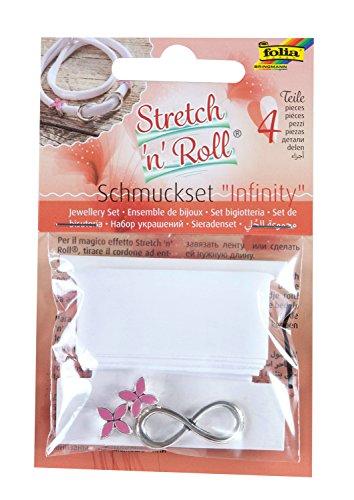 Folia 93104 – Kit de Bricolage Strech et Roll – Set Infinity Bracelet Blanc