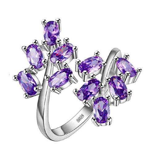Uloveido Unique Large Stackable Flower Purple CZ Resize Rings - Mystic Synthetic Amethyst Brithstone Adjustable Ring Gift Ideas for Women Girls J681-Purple