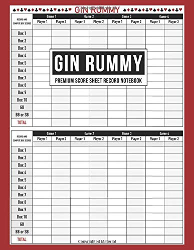 Gin Rummy Premium Score Sheet Record Notebook: Score Pad For Keeping Track of All Your Scores for Over 800 Games | Includes Game Instructions (Sample Gin Rummy Score Pad)