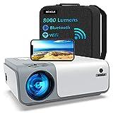 5G WiFi Videoprojecteur Full HD Bluetooth-WiMiUS W1,8000LM Retroprojecteur 1080p Natif, Soutiens 4k,Correction Trapézoïdale 5D & Zoom-50%, Projecteur Portable WiFi pour Fête en Plein Air & Home Cinéma
