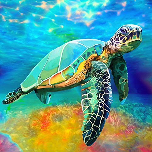 Offito DIY 5D Diamond Painting Kits for Adults Kids Beginners, Colorful Sea Turtle Full Drill Diamond Painting by Number Kits, Rhinestone Diamond Art Kits for Home Wall Decor and Gift (12x12 inch)